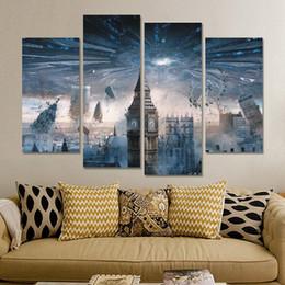 peintures de phénix Promotion 5 Panneaux Peintures pour Salon Mur 4 Panneau Moderne Royaume Uni Big Ben Peinture Photo Bâtiment Urbain Paysage Peinture Toile Mur Art No Frame
