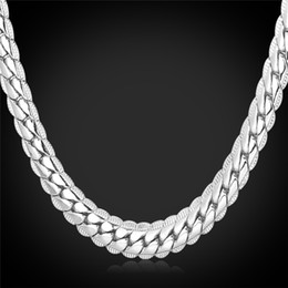 """Wholesale Long Cuban Link Chain - 6MM 18""""-32"""" Men Gold Chain Long Necklace Platinum Plated Jewelry Curb Cuban Link Chain Necklace"""