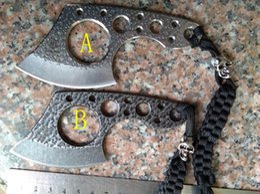 Wholesale Microtech Knife Fixed Blade - New small neck knife mini Fixed blade knife with Skull head hunting survival knives karambit knives microtech knives(2 colors))