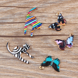 Wholesale Cat Butterfly Jewelry - 10pcs lot Newest Colorful Animal Cat Butterfly Enamel Gold Tone Alloy Charm Oil Drop DIY Bracelet Necklace Jewelry Finding