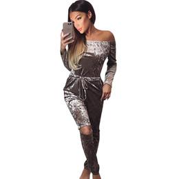 Wholesale Corduroy Overalls Women - Wholesale- Autumn Off Shoulder Women Jumpsuits 2017 Long Sleeve Bodysuit Velvet High Waist Plus Size Overalls Bodycon Jumpsuit Rompers