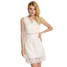 Wholesale Wholesale Bodycon - 2017 Europe and the United States women's dress in the middle of a long skirt V collar sleeveless skirt waist lace dress