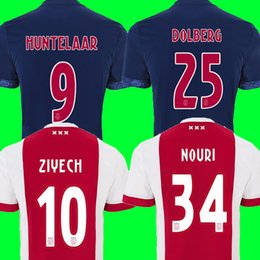Wholesale Ajax Shorts Football - Best thailand Ajax soccer jerseys 17 18 Camisa NOURI Jersey 17 18 ZIYECH HUNTELAAR Football shirts camisetas de futbol maillot de foot 2018