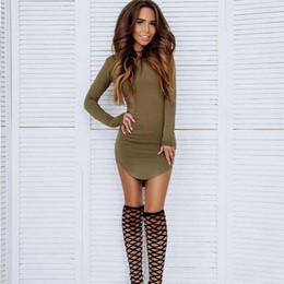 Wholesale Hot Pink Night Dress - Hot Sell New Fashion womens dresses new arrival sexy gray black long sleeve mini bandage dress