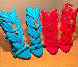 New Light Blue Pelle metallizzata Wing Leaf Gladiatore Sandali donna Tacchi alti Décolleté Donna Scarpe estive Donna Sandalo stiletto da