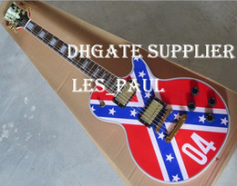 Wholesale drop guitar - Custom Shop ZAKK WYLDE REBEL FLAG Electric Guitar Black Speed Knobs Gold Hardware Drop Shipping