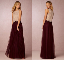 Wholesale Lace Top Long Tulle Prom Dress - Vintage 2017 False Two Pieces Bridesmaid Dresses Lace Top Tulle Skirt Long Burgundy Prom Gowns Junior Wedding Party Gowns Custom Cheap