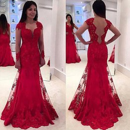 Wholesale Robe Empire Nude - Honey Qiao A Line Evening Dresses 2017 Tulle Applique Open Back Women Party Formal Robe De Soiree Prom Gowns