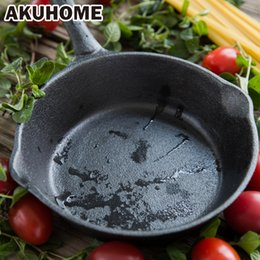 Wholesale Eggs Cooker - 16cm Black Long Handle Not Sticky Casting Iron Pan Stone Layer Frying Pot Saucepan Small Fried Eggs Pot Gas And Induction Cooker