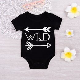 Wholesale Summer Body Suit Baby Boy - Mikrdoo Baby Boy Girl Fashion Rompers 2017 Cotton Black Wild Letters Printed Body Suit Newborn Infant Arrows Romper Cool Jumpsuit for 0-18M