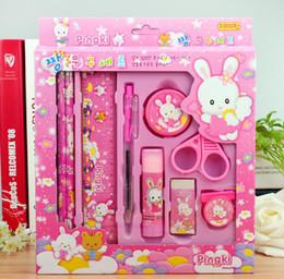 Wholesale Kid Ruler Stationery - Wholesale- Kawaii stationery set for kids Cute pencil case for girls ruler eraser Children gift Office School Supplies