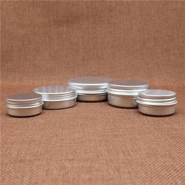 Wholesale Small Travel Jars - Small Lip Balm Jar Empty Cosmetic Eye Cream Silver Aluminum Container Refillable Batom Travel set Tins Bottles 5~50g