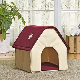 Wholesale Pet Beds For Puppies - HOT!! Dog Bed Cama Para Cachorro Soft Dog House Daily Products For Pets Cats Dogs Home Shape 2 Colors Red Green Puppy Kennel