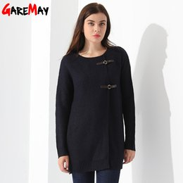 Wholesale Knitted Cardigans For Ladies - Long Sleeve Cardigan For Women O Neck Slim Sweater Knitwear Coat Solid Color Kardigany Damskie Outwear Ladies Cardigan GAREMAY