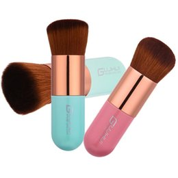 Wholesale Rose Head Cream - New Large Round Head Makeup Brushes Buffer Foundation Powder BB Cream Plump Rose Gold Pink Blue Cosmetic Makeup Brush Tools