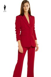 Wholesale Long Suit Blazer For Women - UR Formal Red Work Plus Size Formal Female Office Uniform Womens Pants Suits For Wedding Blazer Set Ladies Pants Suits Women Pnats Suit Set