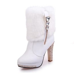 Wholesale Spikes High Platform Boots - Wholesale-LapoLaka 2016 Sexy Spike High Heels Women Boots Rhinestones Chains Platform Woman Shoes Outside Fur Winter Boots