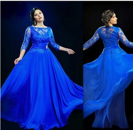 Wholesale Long Sleeved Dresses For Prom - Design Formal Royal Blue Sheer Evening Dresses Under 100 With 3 4 Sleeved Long Prom Gowns UK Plus Size Dress For Fat Women