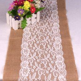 Wholesale Lace Table Cloth Wholesale - Wholesale-Best Sale Lace Burlap Table Runner 108x30cm Lace Vintage Natural Burlap Jute Hessian Table Runner Cloth Wedding Party Decor
