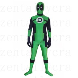 Wholesale Green Lantern Zentai - Round eyes Green Lantern Deadpool Custom Superhero Costume Halloween Party Cosplay Sexy Costumes Catsuit Zentai Suit