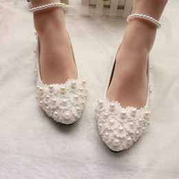 Wholesale Cheap Plus Size Shoes - Cheap Pearls Wedding Shoes For Bride 3D Lace Appliqued Prom High Heels Ankle Strap Plus Size Pointed Toe Bridal Shoes