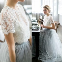 Wholesale Colorful Bohemian Dresses - 2017 Two Piece Bohemian Beach Wedding Dresses Cheap A Line Tulle Vintage Country Lace Bridal Gowns Short Sleeve Colorful Vestidos de Noiva