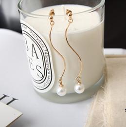 Wholesale Chandelier S - Simple geometric personality bending S-shaped wave pearl earrings earrings earrings manufacturers wholesale