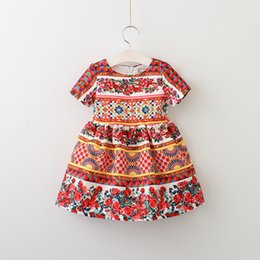 Wholesale Tutu Double Color - Everweekend 2017 Girls Ruffles Plaid Floral Print Dress Double Layer Red Color Western Fashion Children Summer Party Clotning