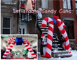Wholesale Inflatable Candy - 4m Penguin Candy Cane Double Inflatable Cane for Christmas Decoration