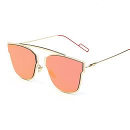 Wholesale Gold Frame Half Glasses - Colorfun Cateye Lady Sunglasses Luxury Pink Mirrors Gold Sun Glasses Brand Designer Women Fashion Accessories Men Eyeglasses UV400 Shades