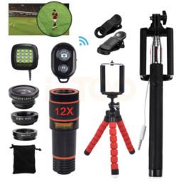 Wholesale Telephoto Universal 12x - 15in1 Phone Camera Lens Kit 12X Telephoto Zoom Lentes Telescope Fish eye Macro Wide Angle lenses For iPhone Smartphone