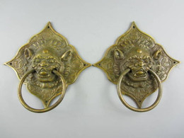 Wholesale Carved Doors - A Pair of Elaborate Chinese Classical Collectible Decorated Old Handwork Copper Beast Statue Door Knocker