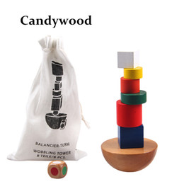 Wholesale Game Blocks - Wholesale- Wooden Geometric Blocks kids Balancing Game toys Montessori Learning Educational Toys For Children Family Game