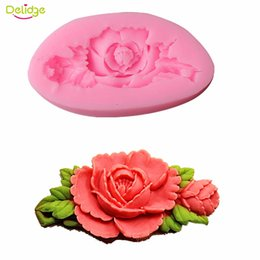 Wholesale Soap Mold Sizes - Delidge 20Pc Big Size Rose Flower Cake Mold Silicone Flower Fondant Chocolate Soap Sugar Craft Mould Cutter DIY Baking Tools