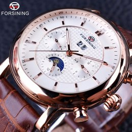 Wholesale Golden Mechanical Wrist Watch - Forsining 2017 Luxury Rose Golden Series Moon Phase Calendar Design Clock Men Watch Top Brand Luxury Automatic Male Wrist Watch