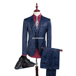 Wholesale Shiny Suit Men S - Fashion Men Bridegroom Print Suit Slim Fit Wedding Dress Mens Shiny Black and Blue Tuxedo Casual 3 pcs Suits