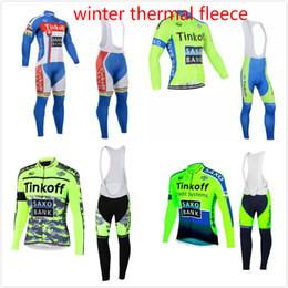 Wholesale Saxo Cycling Jersey - Tinkoff Saxo bank 2017 Pro team winter thermal fleece cycle jersey super warm long sleeve bicicleta bike clothing cycle bib pants set