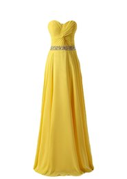 Wholesale Chifon Dress Long - Yellow Bridesmaid Dresses Long Chifon With Sash Beaded Formal Party Gowns Vestidos De Madrinha Vestido De Festa