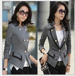 Wholesale Grey Button Jacket Women - Wholesale- Free shipping New 2016 Korean Female Suit Jacket Women Double Breasted Short Coat Office Ladies Black Grey Big size