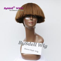 Wholesale Inspire Hair - Synthetic Inspired Fiber Hair Wig Short Kinky Curly Helmet Wigs in Black Red Silver Grey Brown Blonde Color African American Wig