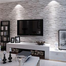 Wholesale Waterproofing Stone Walls - Wholesale- Modern style 3D wallpaper stone brick design background wall PVC wallpaper waterproof papel de parede tapete rolls