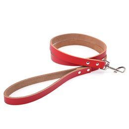Wholesale Leather Leashes Wholesale - 2017 Hot Sales Leather Dog Leash Luxury Genuine Leather Plain Pet Dog Leash Balck Red Brown Blue Pink free shipping