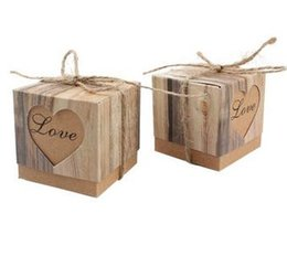 Wholesale Heart Wedding Favors Box - 50pcs lot Romantic Heart Candy Box for Wedding Decoration Vintage Kraft Wedding Favors and Gifts Box with Burlap Twine Chic