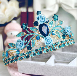 Wholesale Palace Glass - New DG retro baroque palace bride jewelry exaggerated queen blue pearl crown bridal Accessory Wholesale free delivery
