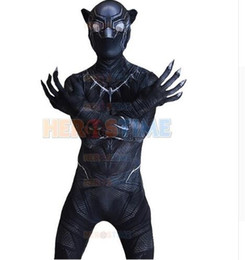 Wholesale Zentai Anime Cosplay Costumes - (SUP913)Black Panther Costume For Adult Men Anime Cosplay Costume 3D Civil War Black Panther Halloween Party Costumes