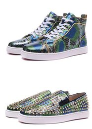Wholesale Womens Leisure Shoes - New 2017 Arrival Green Snakeskin Genuine Leather High Top Red Bottom Sneakers for mens womens cheap men leisure dress shoes trainer footwear