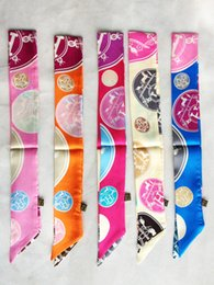 Wholesale Bags Hair Ribbon - Wholesale- Multifunctional small ribbon bandeaus small hair band wrist length decoration taping h twilly bags handle silk scarf
