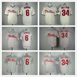 Wholesale Cream Philadelphia - Stitched Baseball Jerseys Philadelphia Phillies 6 Ryan Howard 34 Roy Halladay White Gray Cream Cheap Home Road Alternate Jersey Mix Order