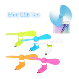 Wholesale Mini Hand Held Fan - Hot Sell Micro USB Fan Portable Mini 2 Leaves Super Mute Cooler hand-held Cooling For Android Smart Phone With Retail Package Free DHL