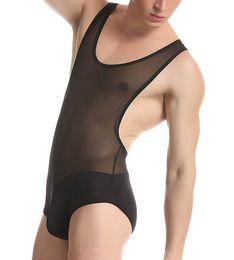 Wholesale Sexy Male Vests - Sexy Nylon sheer Men's Fitness Conjoined Vest mesh Thin Transparent Body Shaper Men Underwear Male Bodysuits Jumpsuits